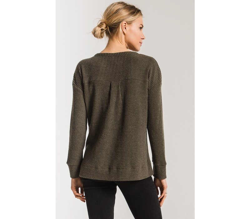 Waffle Thermal Split Neck Top