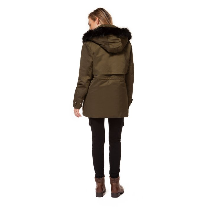 Parka With Removable Hood Faux Fur