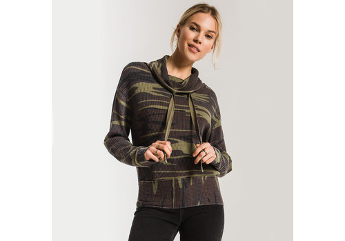 Z Supply Camo Cowl Neck Waffle Thermal Top