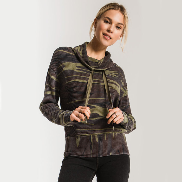 Camo Cowl Neck Waffle Thermal Top
