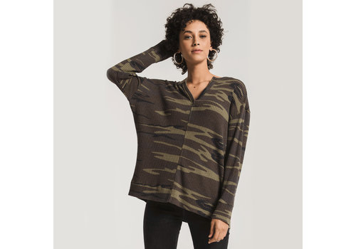 Z Supply Camo Thermal Split Neck Top