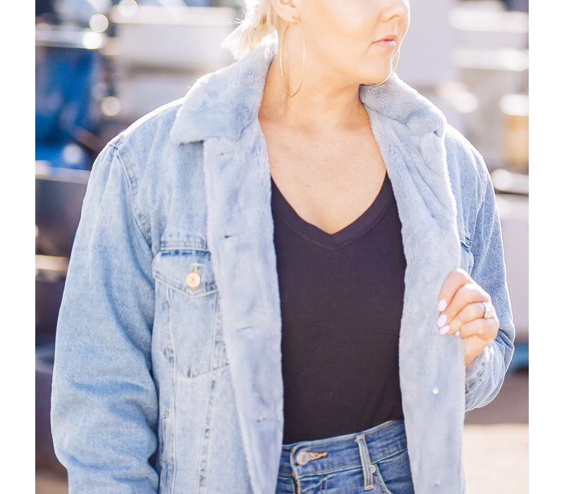Caroline Faux Fur Denim Jacket