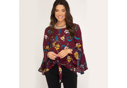 She & Sky 3/4 Bell Sleeve Floral Top