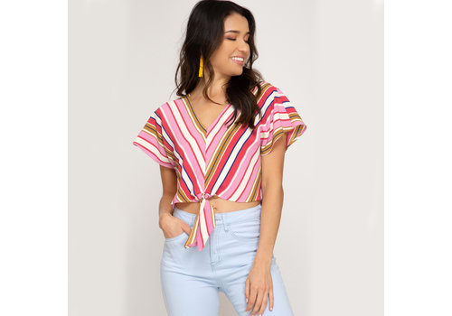 She & Sky V Neck Striped Top