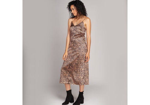 C'est Moi Long Animal Print Slip Dress