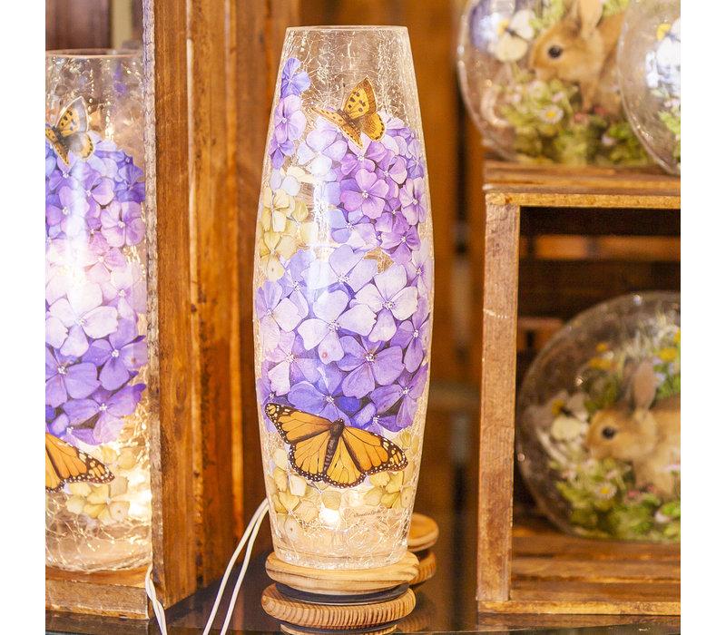 "Hydrangea and Monarch Pre Lit Vase 4x11.75"""