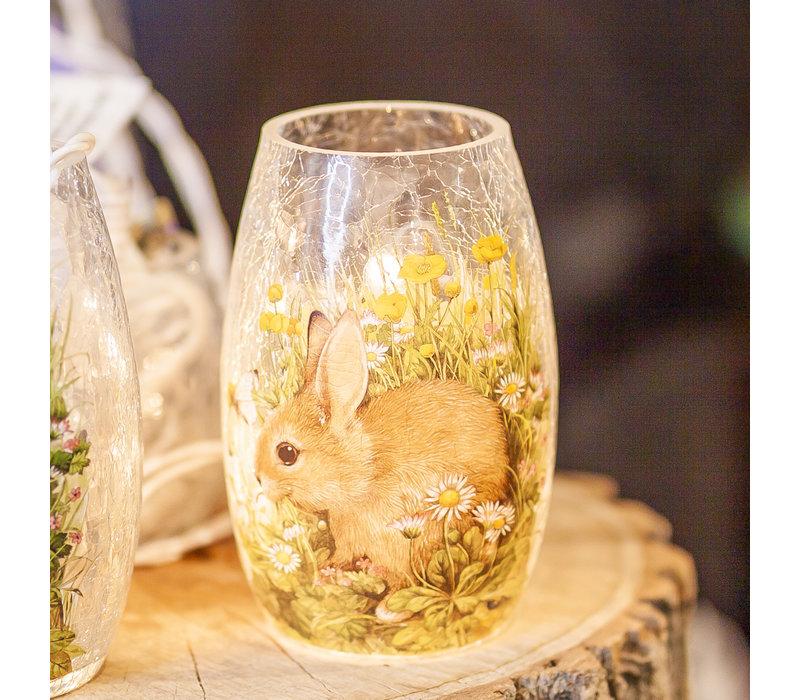 """Spring Bunny Pre Lit Vase 3.25x5.25"""""""