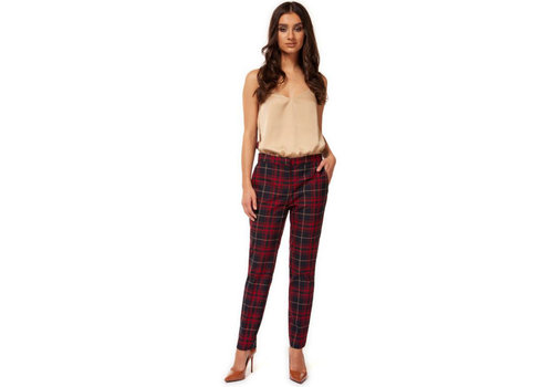 Black Tape Plaid Fitted Pant