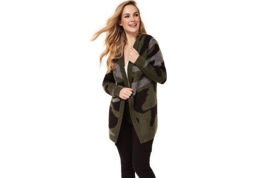 Dex Open Cardigan Sweater Camo