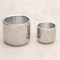 "Avenue Ceramic Pot Matte Silver 4.72x4"""