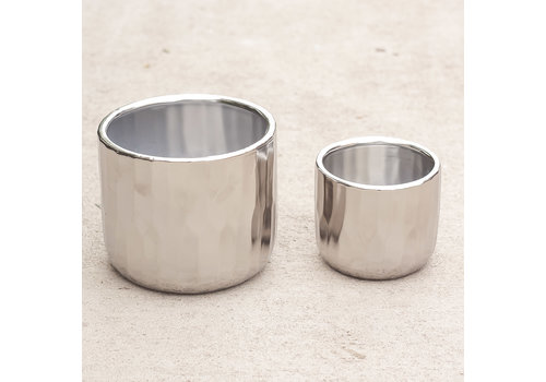 Avenue Ceramic Pot Matte Silver 4.72x4""