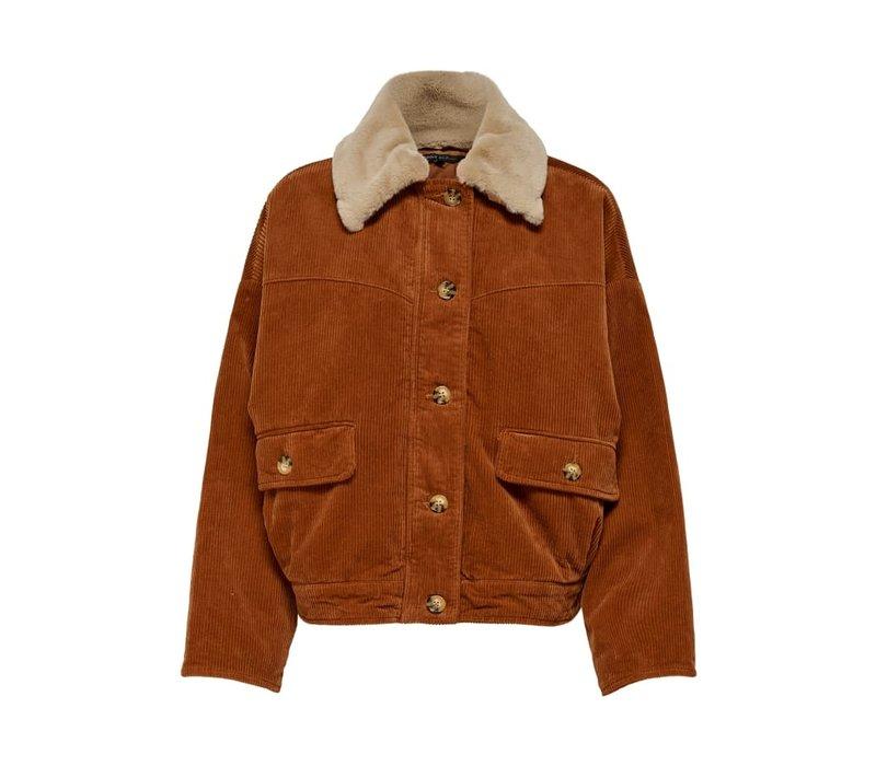 Bitten Cord Button Fur Jacket