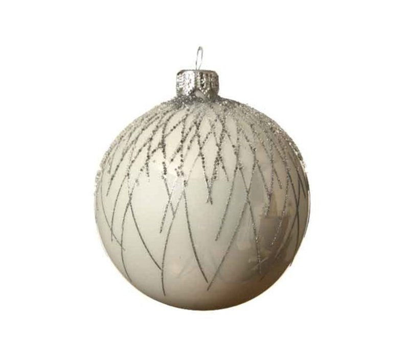 Curved Line Bauble Winter White Silver Glitter