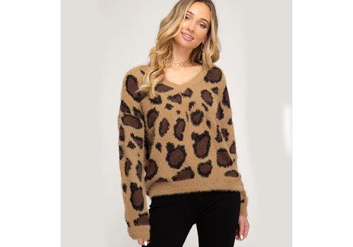 She & Sky Leopard Print Fuzzy Knit Sweater