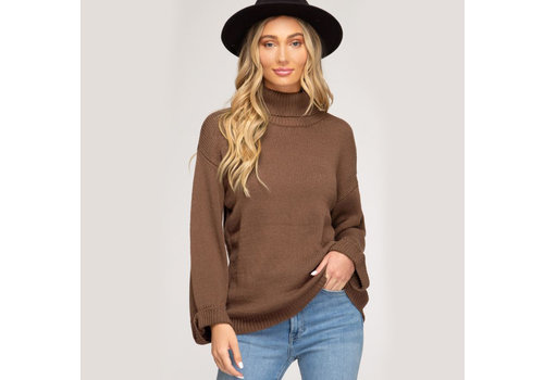 She & Sky Turtleneck Knit Sweater
