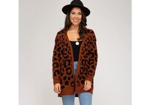 She & Sky Leopard Print Cardigan