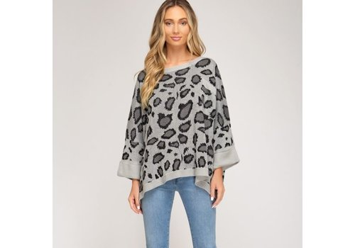 She & Sky Oversized Animal Print Sweater