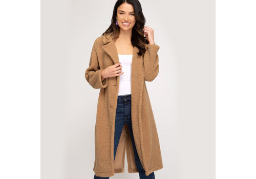 She & Sky Long Teddy Bear Coat