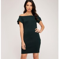 Off The Shoulder Scuba Knit Bodycon Dress