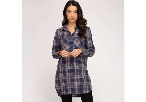 She & Sky Button Down Checkered Shirt