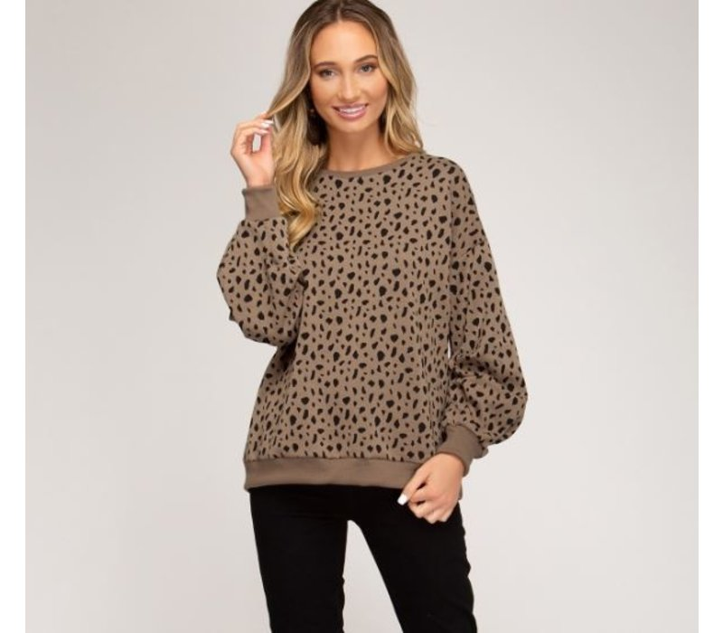 Spotted Print Heavy Knit Sweater