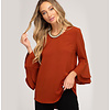 She & Sky Double Bell Sleeve Woven Top