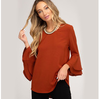 Double Bell Sleeve Woven Top