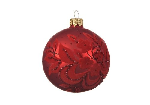 Kaemingk Flock Bauble Christmas Red