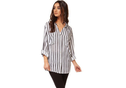 Black Tape Roll Up Button Front Stripe Blouse