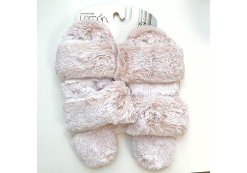Lemon Loungewear Two Strap Fur Slide