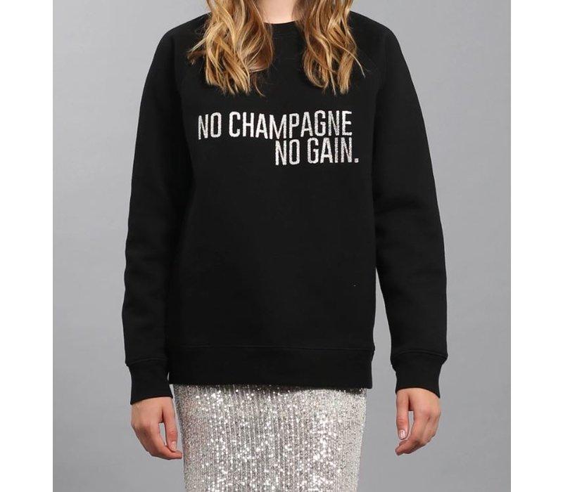 No Champagne Silver Glitter Crew