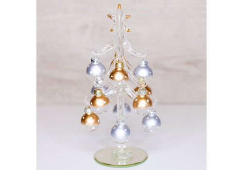 Glenhaven Home & Holiday Gold and Silver Glass Christmas Tree