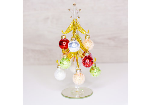 Glenhaven Home & Holiday Green and Red Glass Christmas Tree