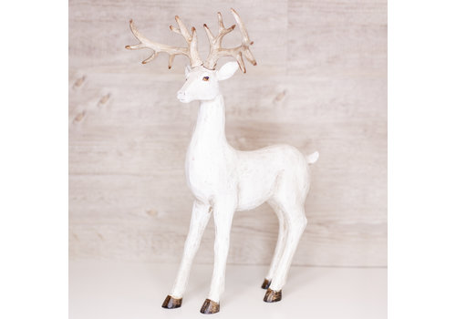 Christmas Tradition Standing Deer White 17""