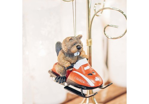 Christmas Tradition Beaver Riding Ski-Doo Ornament