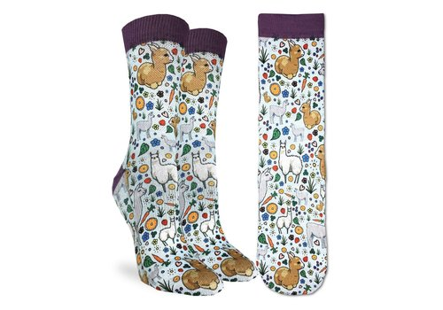 Good Luck Sock Women's Floral Llamas Socks