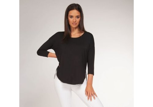 Black Tape 3/4 Sleeve Scoop Basic Top