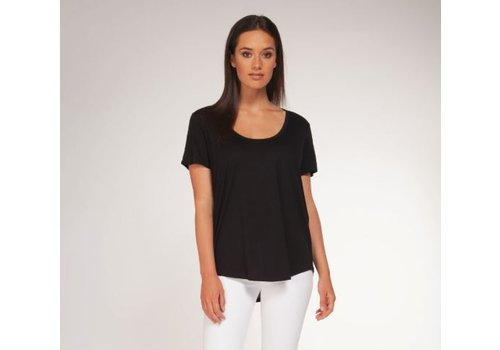 Black Tape Scoop Neck Basic T-Shirt