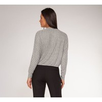 Long Dolman Sleeve Striped Crop Top