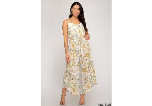 She & Sky Printed Jumpsuit With Waist Sash