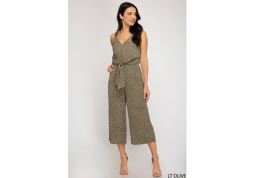 She & Sky Animal Print Culotte Jumpsuit