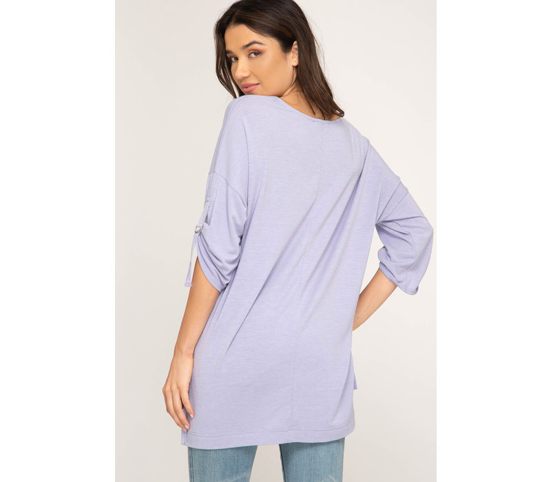 Hi-Low Knit Top Half Roll Up Sleeve