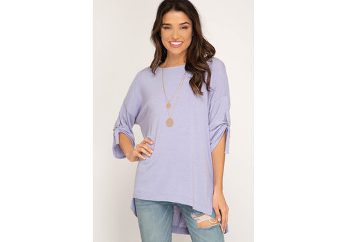 She & Sky Hi-Low Knit Top Half Roll Up Sleeve