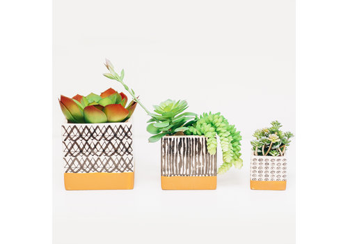 Dutch Growers Dolomite Square Planter Black and White