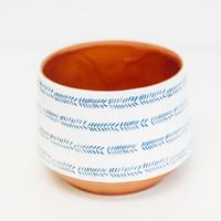 Terracotta Pot White and Blue