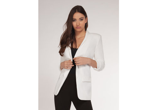 Dex Ruched Sleeve Open Blazer