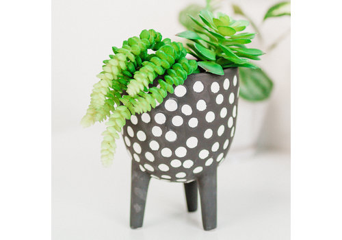 """Dutch Growers Footed Ceramic Planter Dotted 5""""x7"""""""