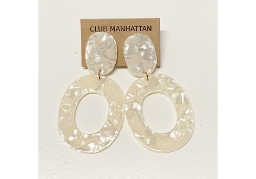Club Manhattan Pearly White Earrings Tortoise