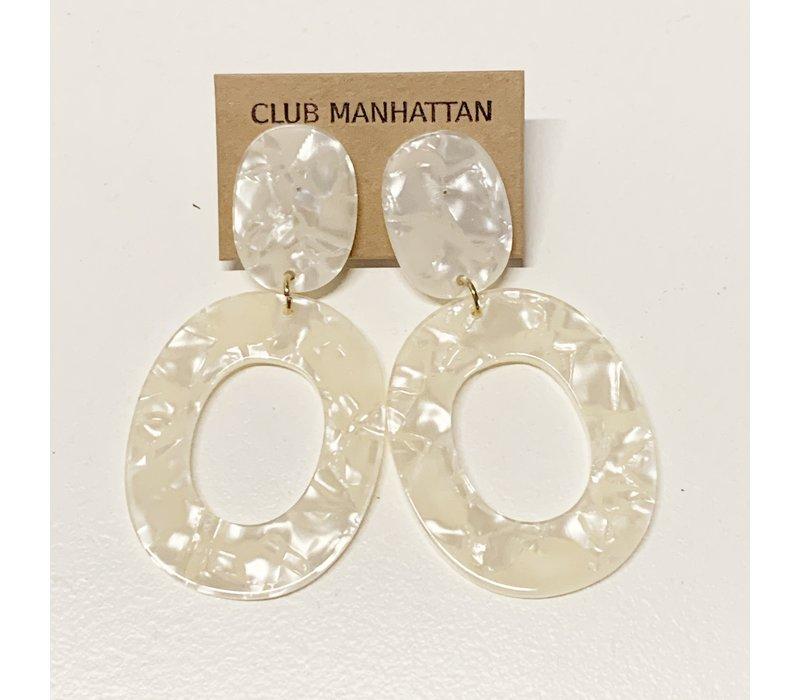 Pearly White Earrings Tortoise