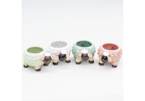 "Hill's Imports Sheep Stoneware Pot 5.5"""